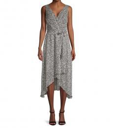 Black Floral Chiffon Wrap-Effect Dress