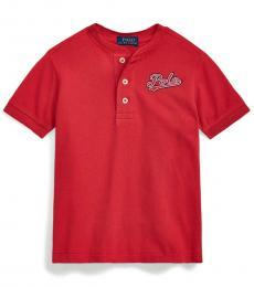 Ralph Lauren Little Boys Evening Post Red Henley Shirt
