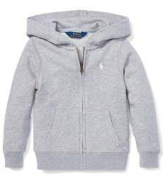 Little Girls Light Grey French Terry Hoodie