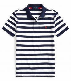 Boys White Striped Polo