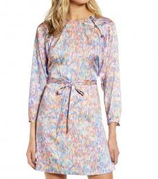 Multi color Lima Waist Tie Satin Dress