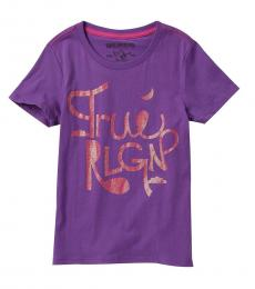 True Religion Girls Purple Clouded T-Shirt