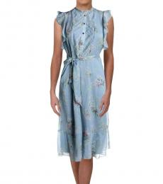 Ralph Lauren Blue Multi Chiffon Sleeveless Casual Dress