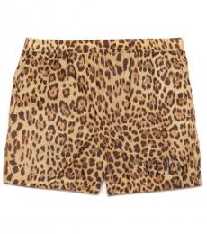 Brown Animalier Swim Shorts