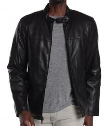 DKNY Black Faux Leather Stand Collar Jacket