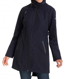 Michael Kors Navy Faux-Leather-Trim Hooded Raincoat