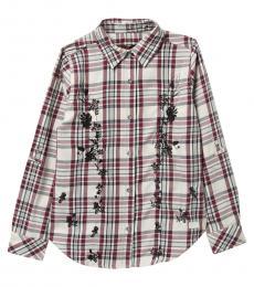7 For All Mankind Girls Zinfandel Plaid Long Sleeve Shirt