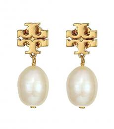 Tory Burch Gold Cultured Pearl Stud Earrings