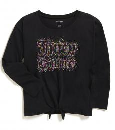 Juicy Couture Girls Black Studded Logo T-shirt