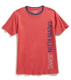 Calvin Klein Boys Red Vertical Logo Stencil T-Shirt