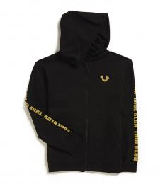 True Religion Boys Black Logo Taping Zip Hoodie