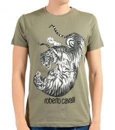 Roberto Cavalli Grey Graphic Print T-Shirt