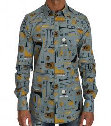 Dolce & Gabbana Light Blue Yellow Slim Fit Gold Shirt