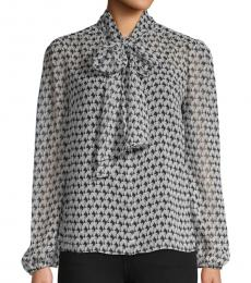 Diane Von Furstenberg Grey Printed Sheer Shirt