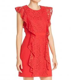 Burnt Red Party Lace Sheath Dress