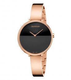 Rose Gold Rise Black Dial Watch
