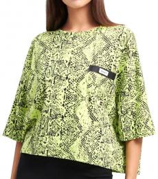 DKNY Neon Green Bonded Pocket Crop T-Shirt