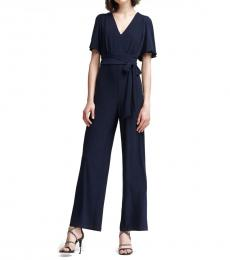 Navy Blue Flutter Sleeve V-Neck Jumpsuit