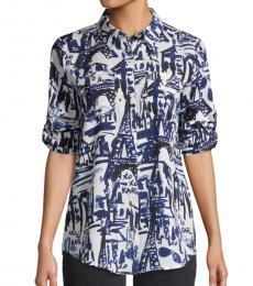 Blue Quartz Whimsical Collared Shirt