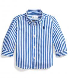 Ralph Lauren Baby Boys Travel Blue Striped Poplin Shirt