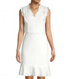 White Ruffle-Trimmed Sheath Dress