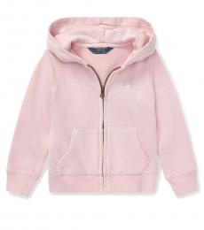 Ralph Lauren Little Girls Hint Of Pink French Terry Hoodie