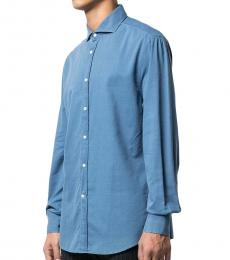 Blue Spread Collar Shirt