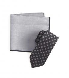 Black Melange Floral Tie & Pocket Square Set