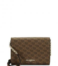Karl Lagerfeld Brown Connie Logo Small Crossbody