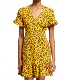 Michael Kors Yellow Printed Button Down Flounce Dress