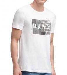 DKNY White Skyscraper Print Logo T-Shirt