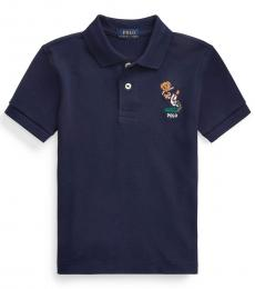 Ralph Lauren Little Boys Navy Football Bear Mesh Polo