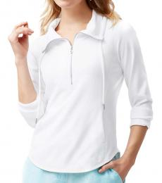 Tommy Bahama White Funnel Neck Half Zip Pullover