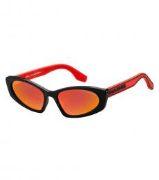 Marc Jacobs Black-Red Rectangle Sunglasses