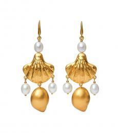 Tory Burch Gold Shell & Pearl Drop Earrings