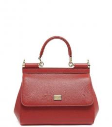 Dolce & Gabbana Red Sicily Small Satchel