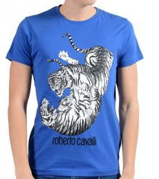 Roberto Cavalli Blue Graphic Crewneck T-Shirt