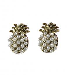 Gold Pineapple Beaded Earrings