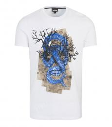 Just Cavalli White Printed Front T-Shirt