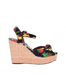 Dolce & Gabbana Black Tropical Print Wedges