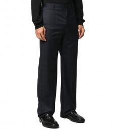 Navy Blue Wool Tailored Trousers