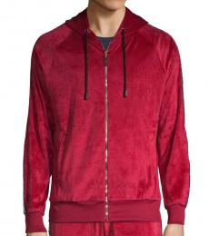 Red Chenille Track Hoodie