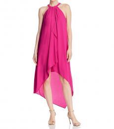 BCBGMaxazria Fuchsia Ruffled Hi-Low Casual Dress