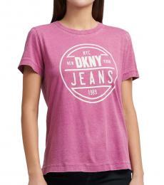 DKNY Pink Curved Hem Logo T-Shirt