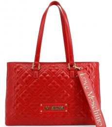 Love Moschino Red Logo Strap Large Tote