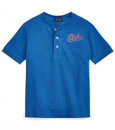 Little Boys Dockside Blue Heather Henley Shirt