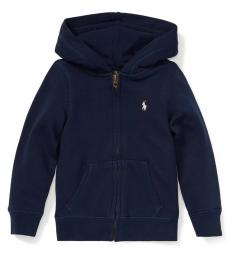 Ralph Lauren Little Girls French Navy French Terry Hoodie