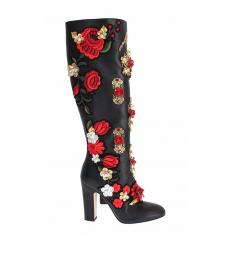 Black Floral Crystal Tall Boots