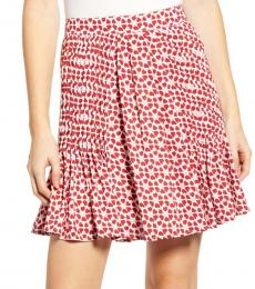 Rebecca Minkoff Red Cassia Floral Pleated Skirt
