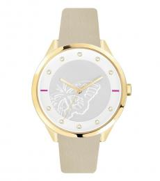 White-Beige Butterfly Dial Watch